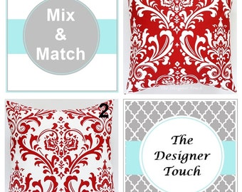"""Red Pillow Cover Red White Pillows Cushions Damask Pillow Red Lumbar Euro Sham Red Damask Accent Pillow Cover 18""""x18"""" Any Size"""