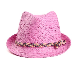 Pink fedora , Women sun hats , decorated with a colorful ribbon.