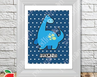 Cute Lil' Dino Apatosaurus Brontosaurus Dinosaur Nursery Print