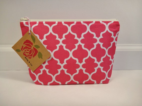 Large Hot Pink Cosmetic Bag, Makeup Bag, Travel Bag, Gadget Case, Bridesmaid Gift, Zipper Pouch, Makeup Pouch