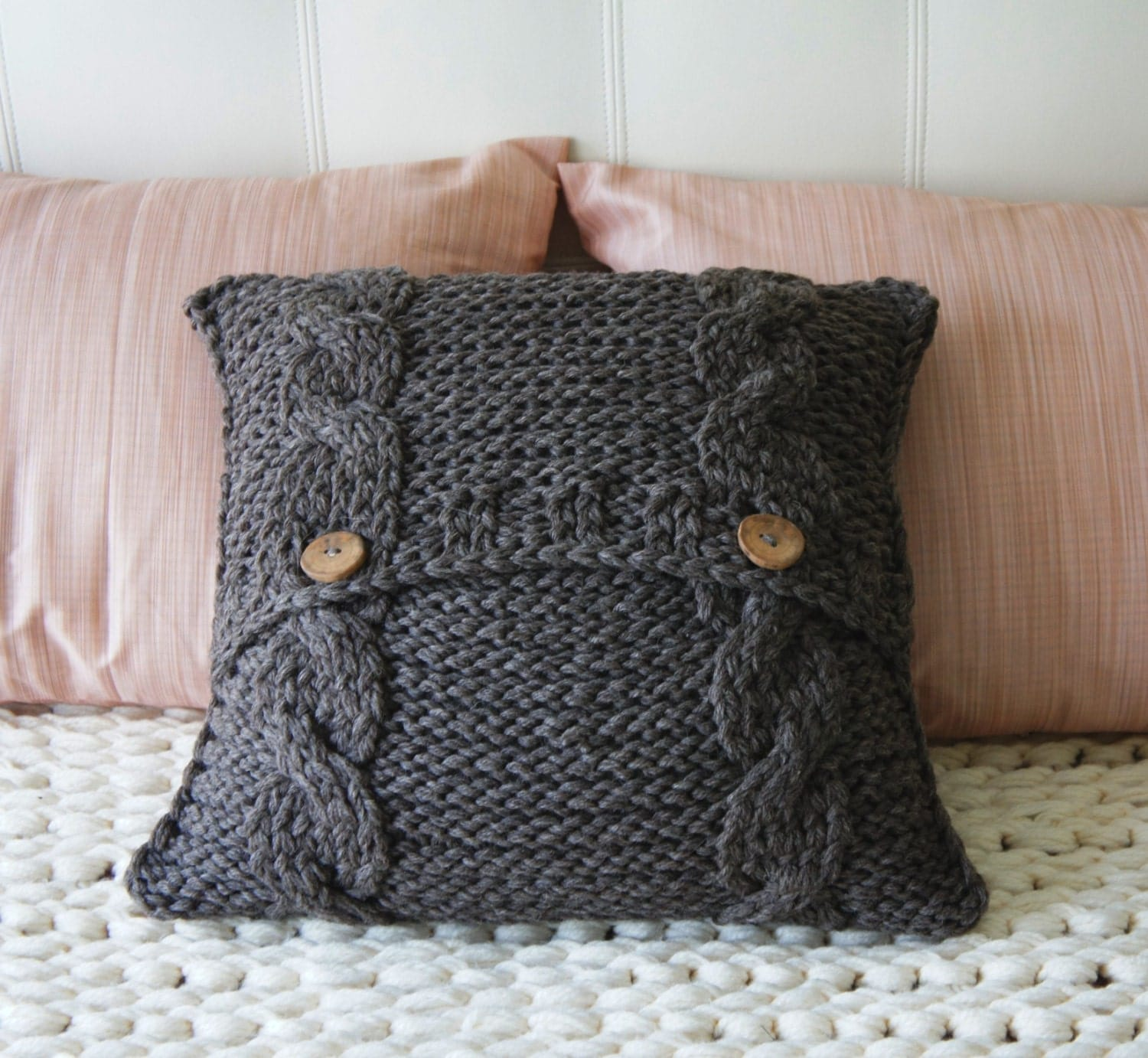 Knitting Pillow Cover : Cable knit pillow cover decorative