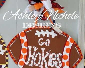 Virginia Tech Inspired Football Door Hanger, Door Decoration,  Fall Wreath, Wooden Football