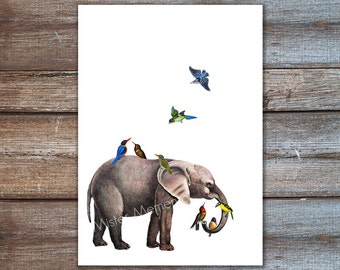 art illustration - elephant home decor, elephant birds art print - wall art
