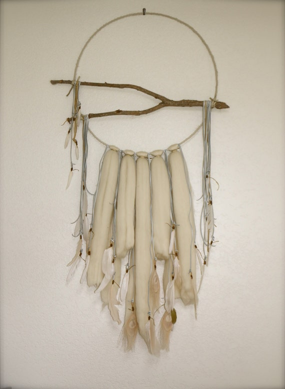 Large Dreamcatcher Branch Wool Leather Feather Wall Art