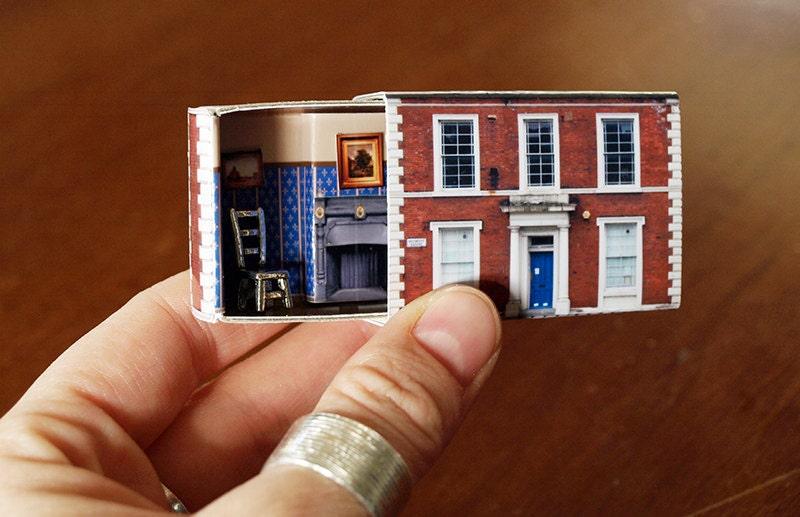 Diy suitcase chair - Matchbox House Miniature Room Inside A Matchbox