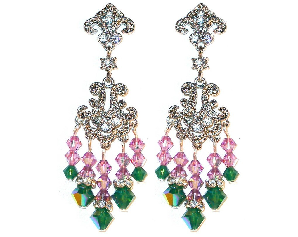 Swarovski Crystal Chandelier Earrings Handcrafted Light