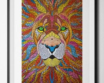Lion Ablaze digital print from an original hand drawn illustration