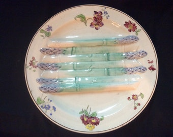 Majolica Asparagus Plate From France