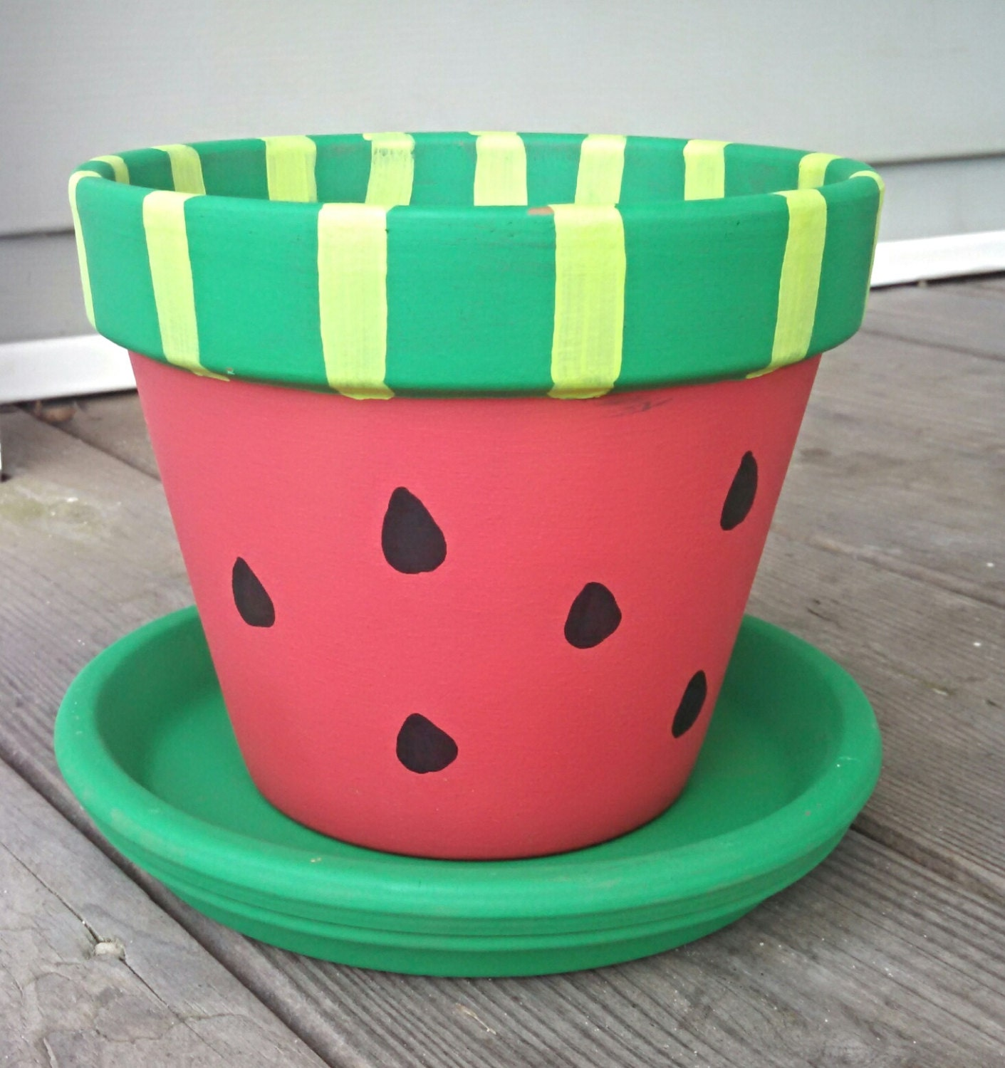flower pot watermelon style 6 with saucer hand painted. Black Bedroom Furniture Sets. Home Design Ideas