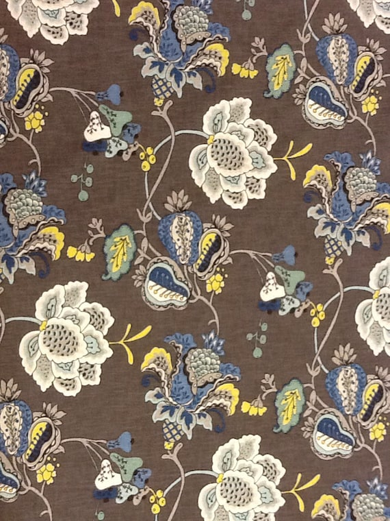 gray and blue floral fabric upholstery fabric drapery fabric upholstery fabric by the yard. Black Bedroom Furniture Sets. Home Design Ideas