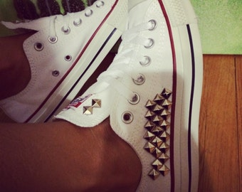 White Converse All Star Custom Studded - Chuck Taylors - ALL COLORS & SIZES!