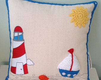 Personalised Embroidered and Crochet Sailing Boat  Cushion