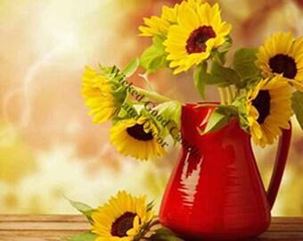 Decorative Ceramic Tile Sublimation - FL_0035 - Sunflowers in vase