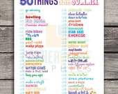50 Things to do this Summer List 8x10 Instant Download - Lots of Summer fun Ideas to do!