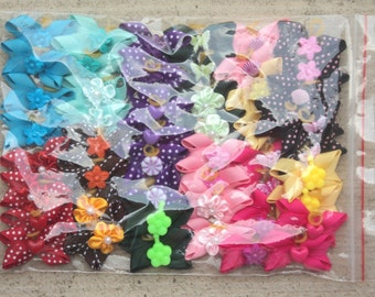 Super large pack of 50 4-corner Dog Hair Bows - Variety of colors for small dogs topknots or pairs around ear - Cute!!!