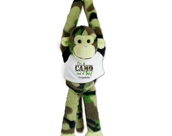 Camouflage Plush Hanging Monkey with Customized Name T Shirt I'm a Camo Kind of Boy