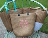 Items similar to Monogrammed Straw Summer Tote Bridal Party Beach ...