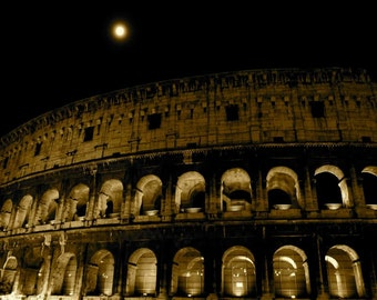 Colosseum at Night, Rome, Italy , Sepia ,  Travel Photography