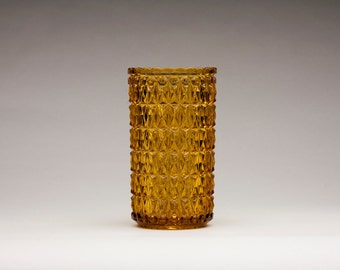 "EAPG, Central Glass Company, ""Pressed Diamond"" Amber Celery Vase, 1880s"