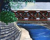 Ceramic Tile-Naperville, Illinois-Painting the Town Series-Riverwalk Covered Bridge-Ceramic Tile-Ceramic Coaster-Decorative Artwork
