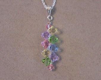 PASTELS SWAROVSKI Crystal Pendant Necklace Choice of Colors Swarovski top drilled Crystal Necklace