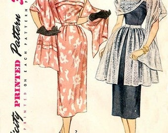 Simplicity 3540 Hypnotic Dress, Stole & Overskirt / ca. 1951 / SZ12 COMPLETE