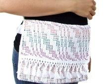Ladies purse. Handwoven cotton fabric. Green satin lining. White handbag