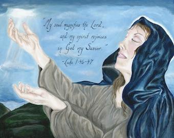 Biblical Art - Poster Print - Magnificat Painting