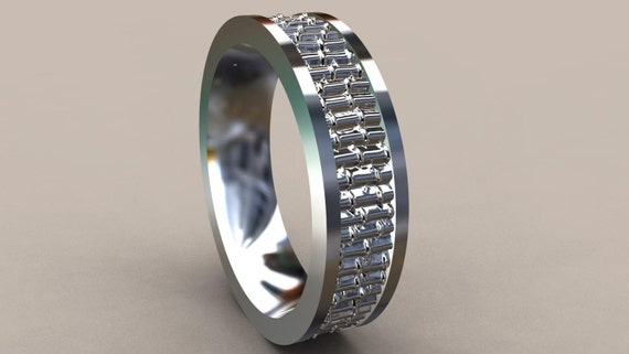 silver 6mm heavy mens wedding band bamboo 925 sterling silver