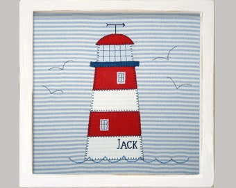 Personalised lighthouse applique picture