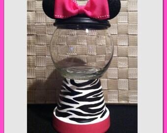Minnie Mouse Inspired Zebra Candy Jar