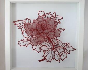 Original Handmade Papercut - Peony Flower,framed in shadow box, wall art