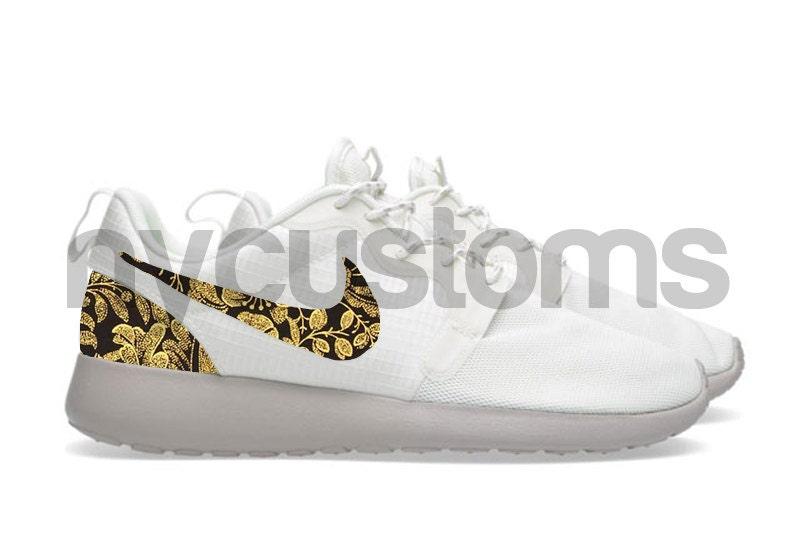 Nike Roshe Run Hyperfuse White Sail/Brown Metallic Gold Floral Supreme  Custom Womens. 🔎zoom