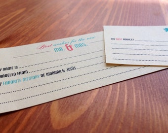 Coral and Mint Wedding Guest Book Cards