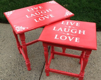 SOLD!! Coral Chalk Painted Distressed Ethan Allen Nesting Tables