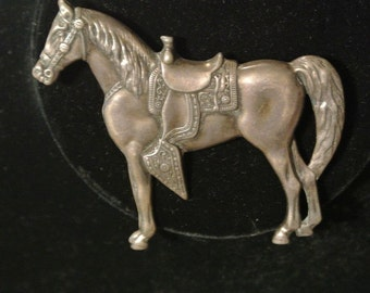 Vintage Sterling Silver Horse w/Saddle BROOCH Cowgirl ID#40