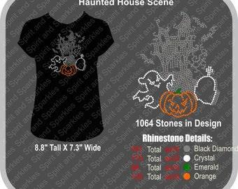Haunted House Scene Rhinestone T-Shirt, Tank or Hoodie