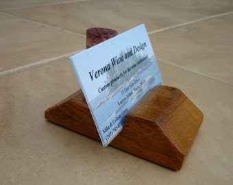 "Business card holder.  Cork is interchangeable.  Dimensions will vary based on barrel stave width (typically 2-3"" wide)."