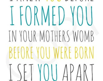 8x10 Jeremiah 1:5 I formed You In Your Mothers Womb instant download