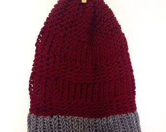 Adult/ Teen Maroon and Grey Knitted Slouch Beanie