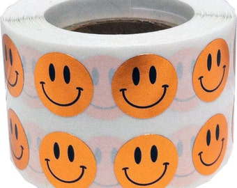 1,000 Shiny Metallic Copper Smiley Happy Face Stickers - Tiny 0.5 Inch Round