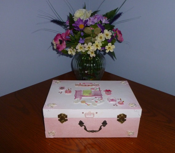 Pink Nursery Room Memory Box For Girl Baby Gift