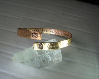 Secret Message bracelet in copper, brass or silver.