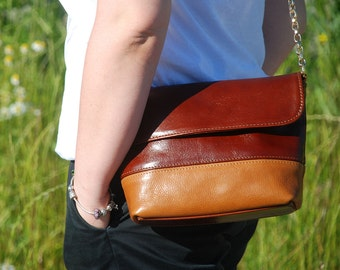 Small Brown Leather Shoulder Bag, Handmade Leather Bag, Shoulder chain bag – brown and camel color