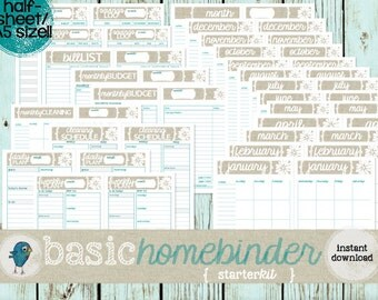 A5 Sized Home Binder Starter Kit: Budgeting, Meal Planning, Cleaning, Planner Pages, and Calendar Printables all in ONE, Instant Download!
