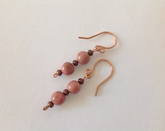 Pure copper and dusky pink rhodonite hand crafted earrings