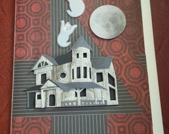 Halloween Collage Greating Card/ Haunted House, Ghosts and Full Moon