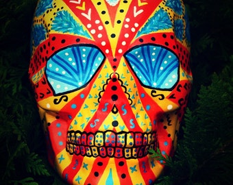 Sugar Skull Day of the Dead Handmade Blue Eyes Points Ceramic Mexican Skull Home Decoration MADE TO ORDER