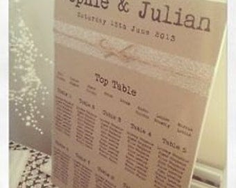 1 x Vintage/Rustic/Shabby Chic Manilla Rustic A3 Wedding Table Seating Plan