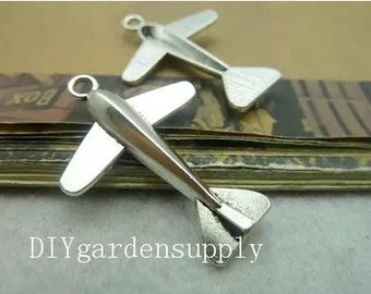 lead and nickel free--- 50pcs 25x35mm antiqued silver airplane zinc alloy charms findings